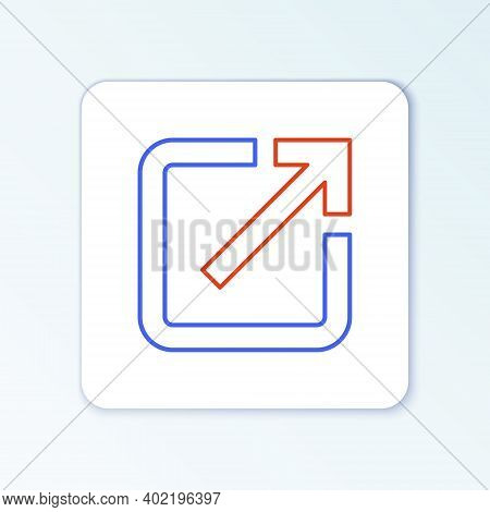 Line Open In New Window Icon Isolated On White Background. Open Another Tab Button Sign. Browser Fra