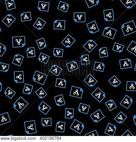 Line Share File Icon Isolated Seamless Pattern On Black Background. File Sharing. File Transfer Sign