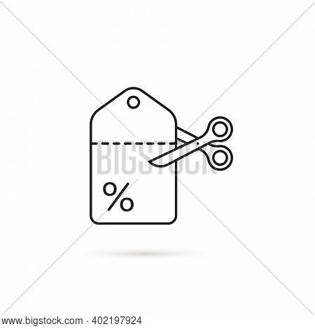Coupon Icon Like Low Cost. Flat Stroke Style Trend Logotype Graphic Linear Art Design Isolated On Wh