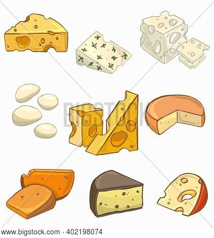 Of A Set Of Different Kinds Of Cheese . Vector Illustration