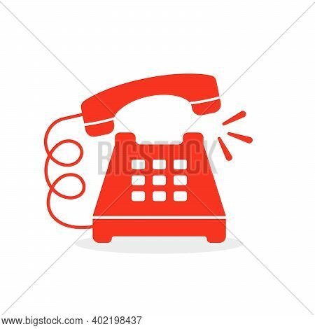 Red Vintage Ringing Phone Icon. Concept Of Easy 24 7 Customer Support Or Client Help Desk And Hotlin