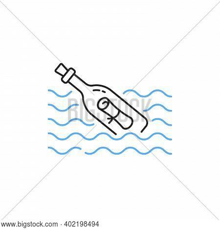 Thin Line Message Bottle In Waves. Flat Stroke Trend Modern Minimal Linear Logotype Graphic Lineart