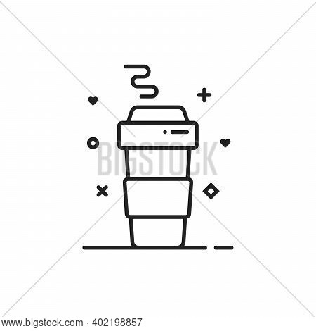 Simple Thin Line Coffee Paper Cup. Concept Of Takeaway Hot Drink And Take Out Or Away Tea. Stroke Fl