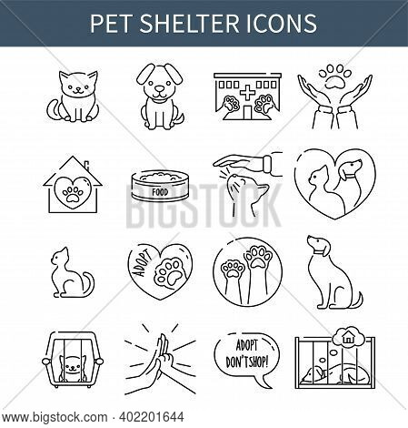 Pet Shelter Line Icons Collection, Minimalistic Design Of Cats And Dogs Rescue Symbols, Vector Illus