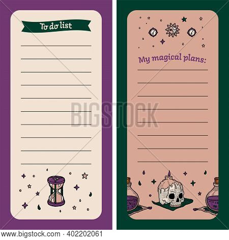 To Do List. Magic Notebook For Cases With Witch Elements. To Record Plan, List, Milestone. Childrens