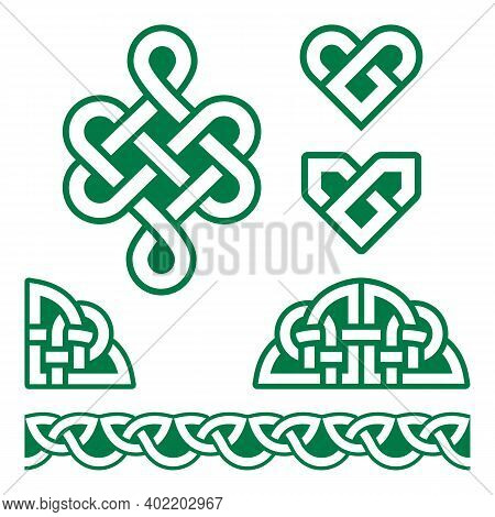 Irish Celtic Braids And Knots Vector Pattern Set, Celtic Green Hearts Traditional Design Elements Co