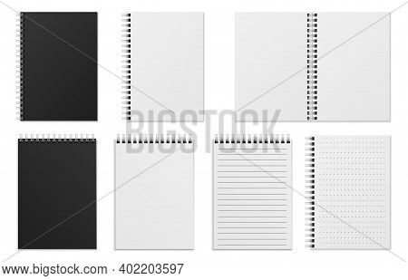 Open And Closed Notebook. Blank Realistic Spiral Binder Notepad Or Sketchbook. White Sheets, Checker