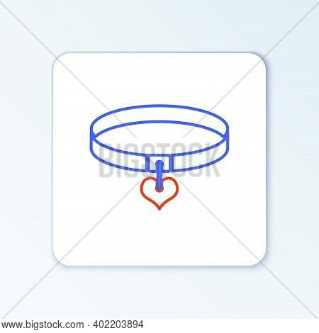 Line Collar With Name Tag And Heart Icon Isolated On White Background. Simple Supplies For Domestic