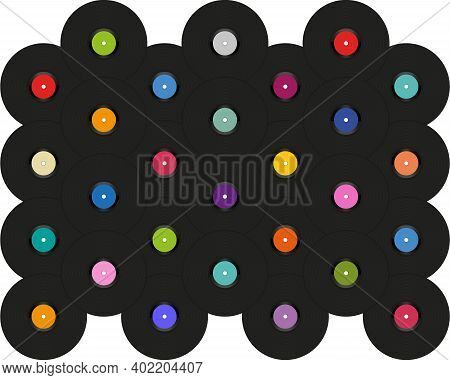 Pop Art Background With Vinyl Disks Laid Out On A White. Vintage Poster Of Vinyl Player Record. Vect