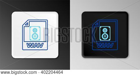 Line Wav File Document. Download Wav Button Icon Isolated On Grey Background. Wav Waveform Audio Fil
