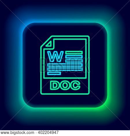 Glowing Neon Line Doc File Document. Download Doc Button Icon Isolated On Black Background. Doc File
