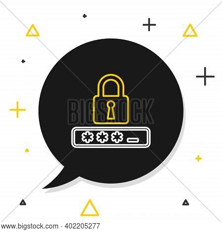 Line Password Protection And Safety Access Icon Isolated On White Background. Lock Icon. Security, S