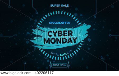 Cover For Cyber Monday Sale. Vector Long Banner For Cyber Monday Sale. Modern Advertising Design Wit