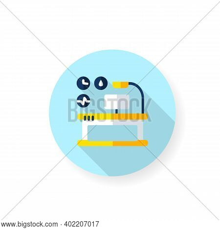 Health Focused Desktop Flat Icon. Smart Office Table. Smart Emerging Technologies. Contemporary Work