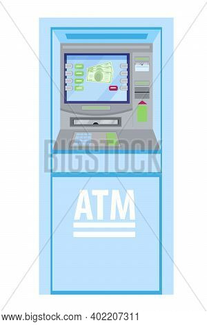 Atm Vector Money Machine, Cash Bank Terminal Illustration With Blue Bankomat, Isolated On White. Fla