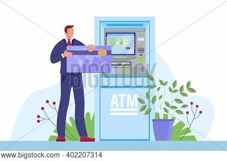 Atm Vector Money Machine, Bank Cash Terminal Finance Illustration With Service Man, Client, Credit C