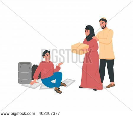 Arabian Couple Help Homeless Man Flat Color Vector Faceless Character. Islam Family Give Poor Guy Fo