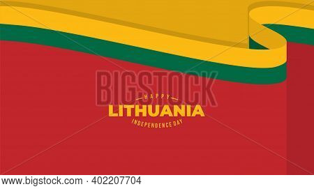 Red Color With Yellow And Green Flat Background Design For Lithuana Independence Day. Good Template