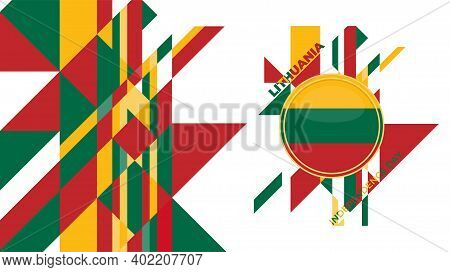 Low Poly Abstract Background Design For Lithuana Independence Day. Good Template For Lithuania Indep