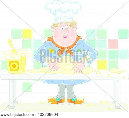 Funny Fat Cook In Uniform Standing At His Kitchen Table And Kneading White Dough To Cook A Tasty Pie