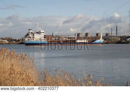 Kruibeke, Belgium, December 25th 2020, The Vessel Cimil Is A Chemical Oil Products Tanker Vessel Bui