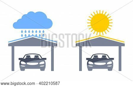 Carports Pictograms Set - Automobile Protection From Ultraviolet Light And Rain - Isolated Vector Ic