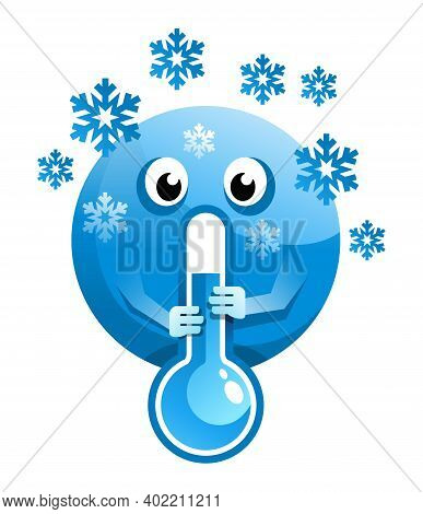 Humorous Cold Weather Cartoon Illustration. Freezing Earth Globe With Thermometer And Falling Snowfl