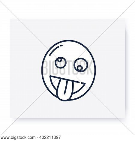 Zany Face Line Icon. Silly Cockeyed Face With Large Grin. Crazy Emoticon. Facial Expression Emoji. I