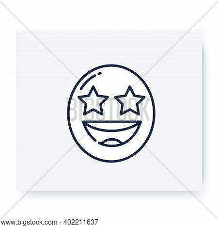 Starry Eyes Face Line Icon. Excited Grinning Face, Wow Emoticon. Facial Expression Emoji. Isolated V