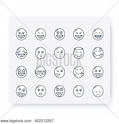 Cute Emoji Collection Line Icons Set. Grinning, Beaming, Starry Eyed Face And More. . Outline Drawn