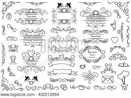 Calligraphic Design Elements . Decorative Swirls And Scrolls, Vintage Frames , Flourishes, Labels An