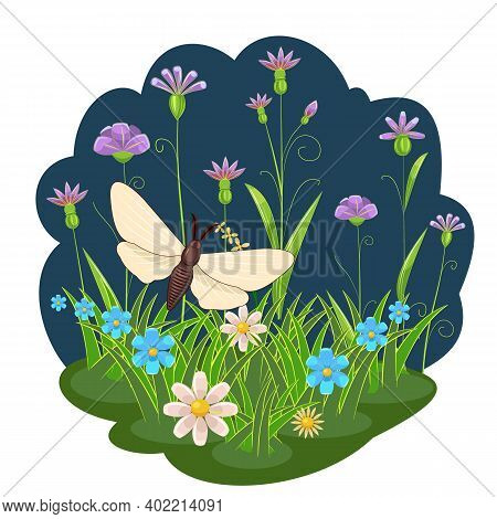 White Butterfly On The Background Of A Night Landscape. Flowers, Grass Meadow. Cartoon Style. Bright