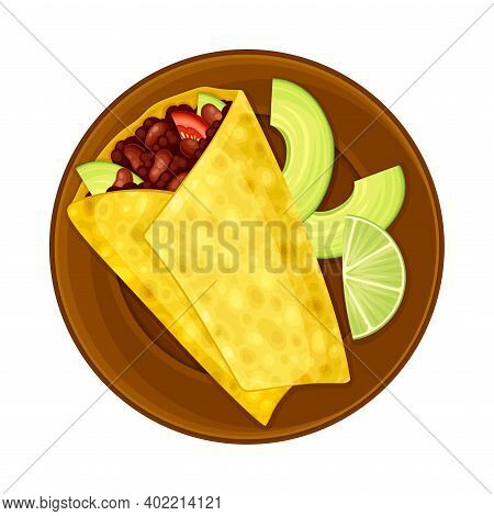 Burrito With Flour Tortilla Filled With Savory Filling Of Cooked Beans As Traditional Mexican Dish V