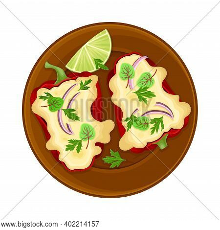 Baked Bell Pepper With Savory Stuffing Or Filling As Traditional Mexican Dish Vector Illustration