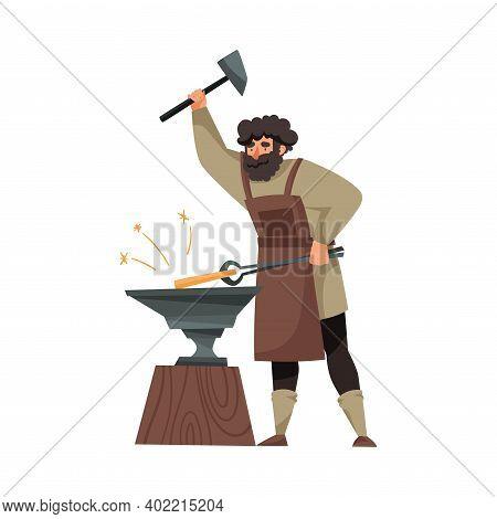 Bearded Blacksmith In Apron Forging Blade On The Anvil Vector Illustration