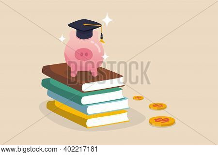 Education Fund, Collect Money For School, College And University Cost Or Student Scholarship Or Loan
