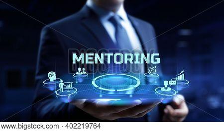 Mentoring Mentor Coaching Personal Development Concept On Virtual Screen.