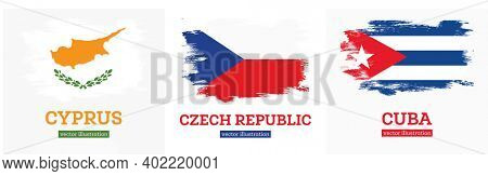 Czech Republic, Cyprus and Cuban Flag Set with Grunge Brush Strokes. Flag of Cuba Country.