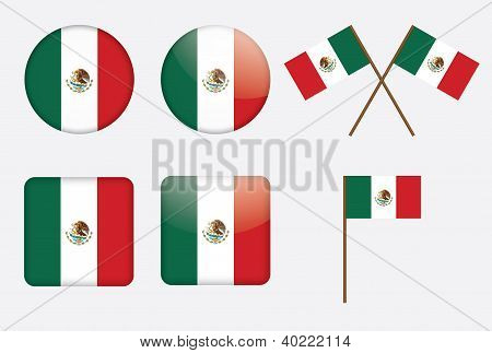 Badges With Flag Of Mexico