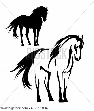 Beautiful Mustang Horse With Flying Mane And Tail - Wild Stallion Black And White Vector Outline And
