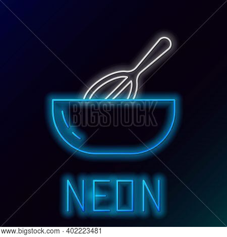 Glowing Neon Line Kitchen Whisk And Bowl Icon Isolated On Black Background. Cooking Utensil, Egg Bea