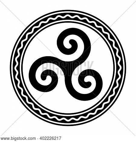 Triskele Within A Circle Frame With A White Wavy Line. Triskelion, Ancient Symbol And Motif Consisti