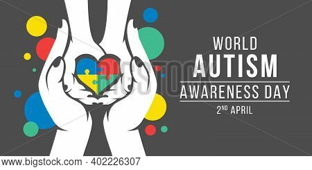 Wolrd Autism Awareness Day Banner With White Adult And Child Hands Holding Heart Puzzle Piece Sign V