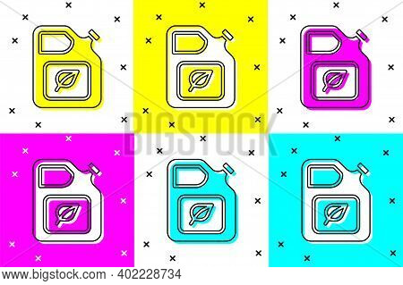 Set Bio Fuel Canister Icon Isolated On Color Background. Eco Bio And Barrel. Green Environment And R
