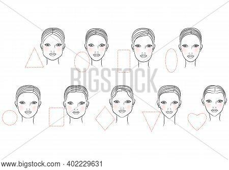 Female  Shape Of The Face. Line Art Design. Vector Illustration