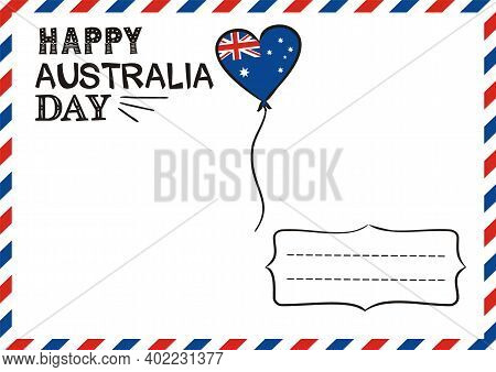 Happy Australia Day Postcard With Lettering And Balloon. Hand Drawn Airmail Envelope. Logo By Januar