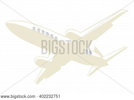Passenger Airplane Liner In The Sky. Vector Illustration
