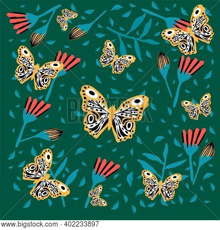 Poster Of A Butterfly In Flowers. Insects Hover In The Rainforest. Doodle Picture Of Soaring, Colore