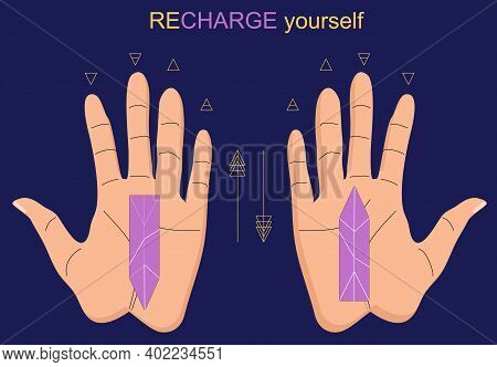 Recharge Yourself With Crystals.indian Palmistry. Hand With Lines Of Energy And Planets Signs For Pe