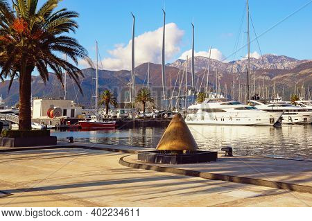 Tivat , Montenegro - December 13 2020:  View Of Yacht Marina Of Porto Montenegro In Tivat City